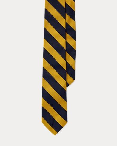 Striped Silk Twill Narrow Tie