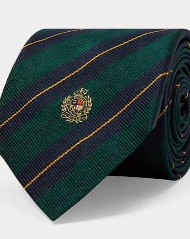 Crest Striped Silk Narrow Tie