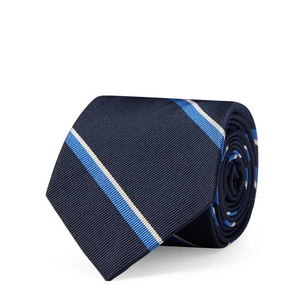 Ralph Lauren Striped Silk Twill Narrow Tie Navy One Size