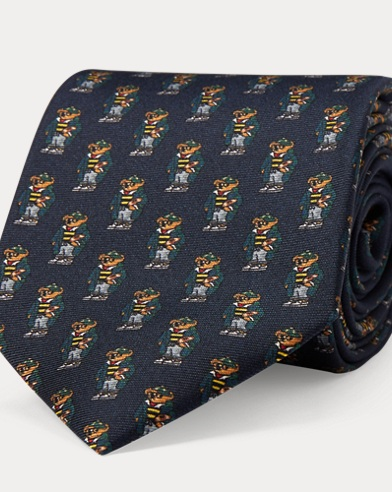 Rugby Bear Silk Narrow Tie