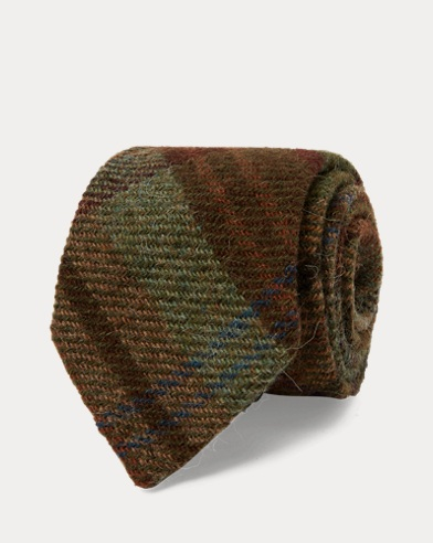 Plaid Wool Narrow Tie