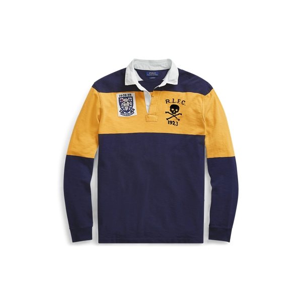 Ralph Lauren Classic Fit Cotton Rugby Shirt Cruise Navy/ Gold Bugle S