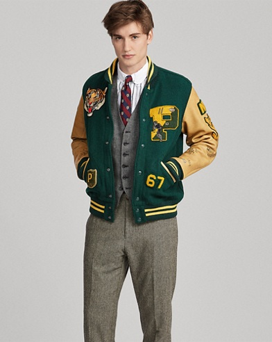 Wool-Blend Letterman Jacket