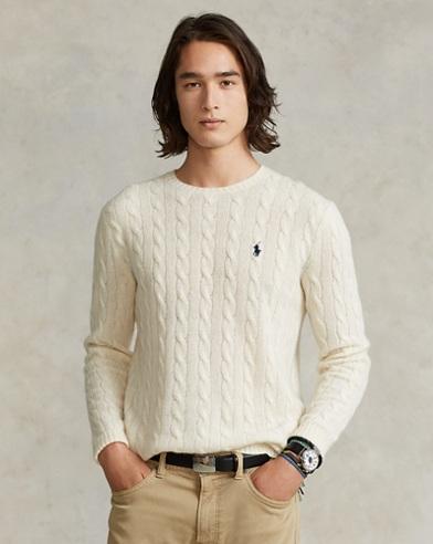 Maglia in lana e cashmere a trecce