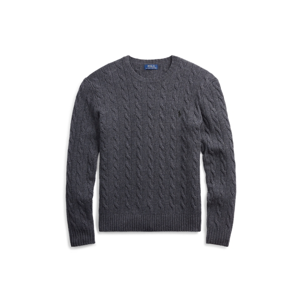 Ralph Lauren Cable Wool-Cashmere Sweater Dark Charcoal Heather S