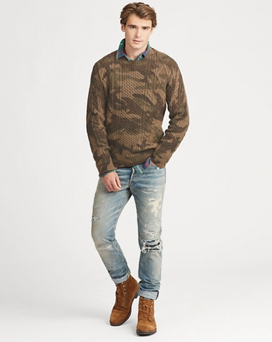 Camo Aran-Knit Wool Jumper