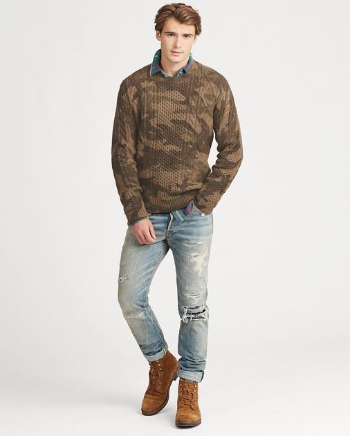 Jersey de lana en punto aran de camuflaje