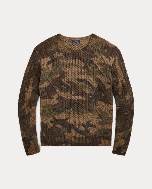 af017aa26b20dc Polo Ralph Lauren Camo Aran-Knit Wool Sweater 2