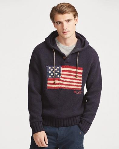 Felpa in misto lana con bandiera