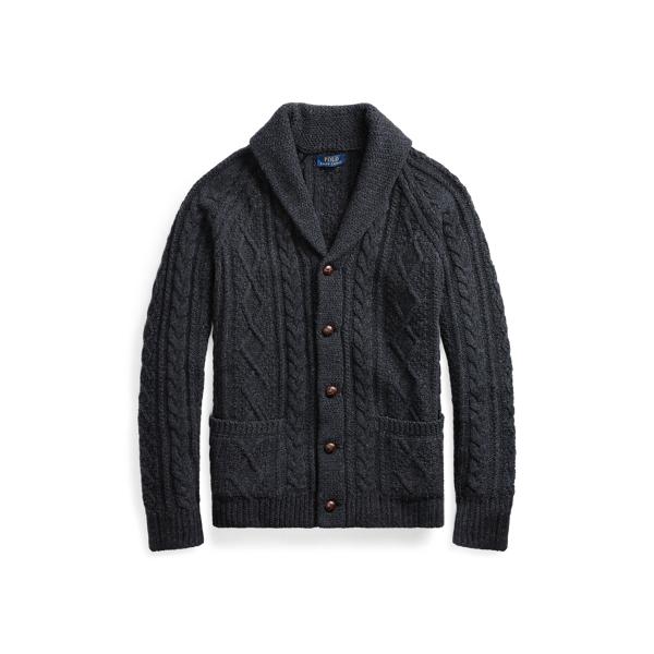Ralph Lauren Cable Wool-Cashmere Cardigan Dark Charcoal Heather S