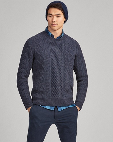 Aran-Knit Wool Sweater