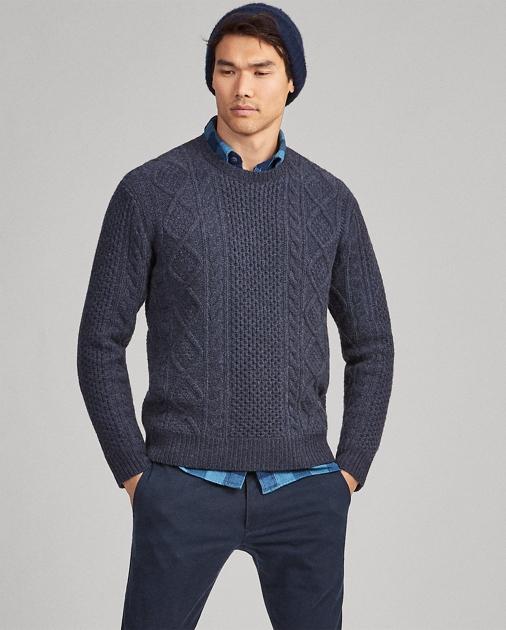 5054a5d86 Polo Ralph Lauren Aran-Knit Wool Sweater 1