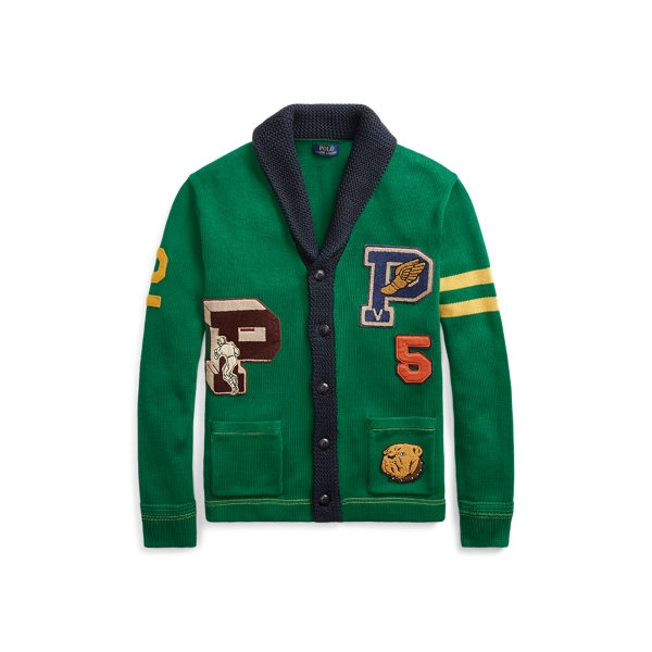 Ralph Lauren Cotton Letterman Cardigan Kelly Green/Navy 2X Big