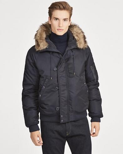 Faux Fur-Trim Down Jacket
