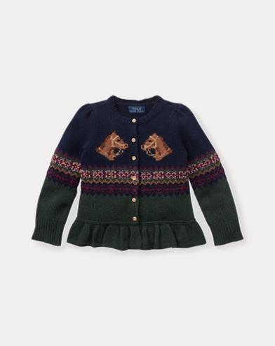 Intarsia-Knit Peplum Cardigan