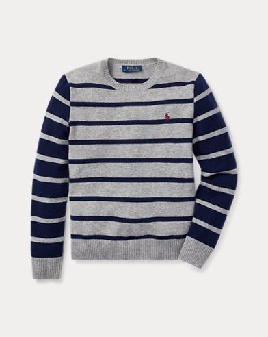 Maglia a girocollo in lana a righe