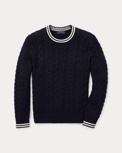 Aran-Knit Cotton Sweater