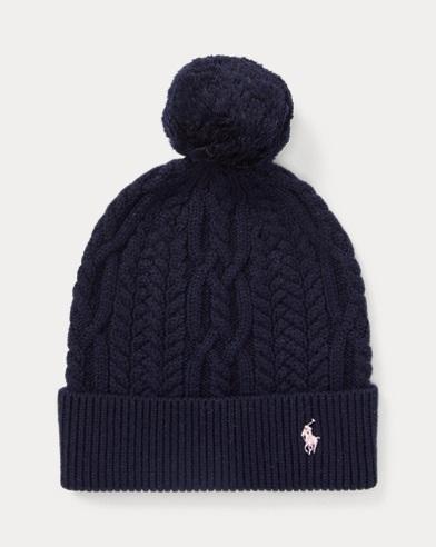 Aran-Knitted Pom-Pom Hat