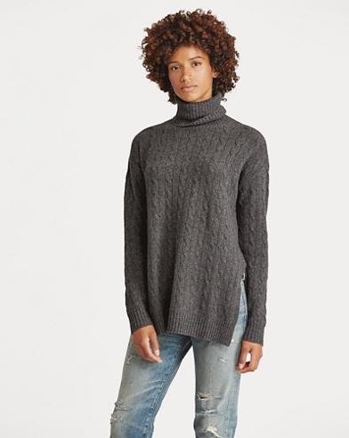 Slit Cable Turtleneck Sweater