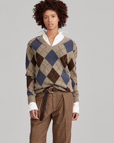 Argyle Wool V-Neck Sweater