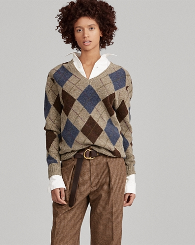 Argyle Wool V-Neck Sweater