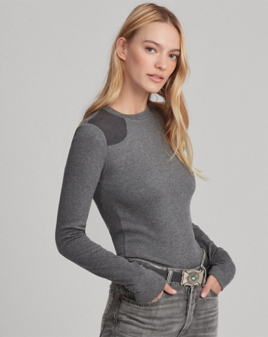 Suede-Trim Crewneck Top
