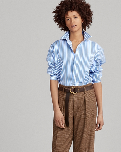 Big Fit Striped Cotton Shirt