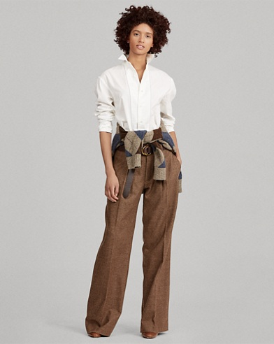Buckled Tweed Wide-Leg Pant