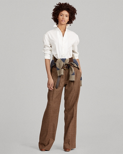Pantaloni a gamba larga in tweed