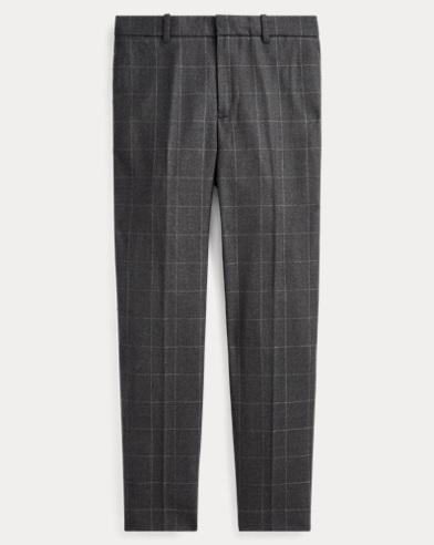 Windowpane Wool Straight Trouser