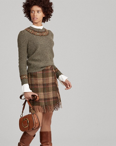 Fringe-Trim Plaid Wool Skirt