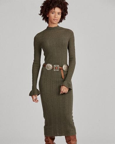 Abito in maglia di lana a pointelle