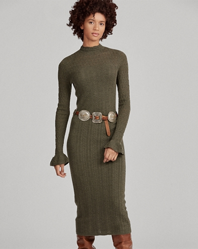 Pointelle Wool Sweater Dress