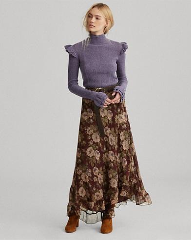 Floral-Print Silk Maxiskirt
