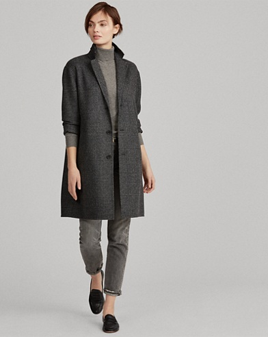 Glen Plaid Wool Trench