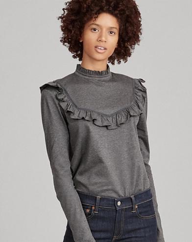 Ruffle-Trim Cotton-Blend Top