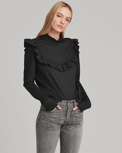 Ruffle-Trim Cotton-Blend Top