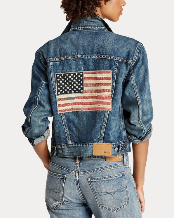 USA Flag Denim Trucker Jacket
