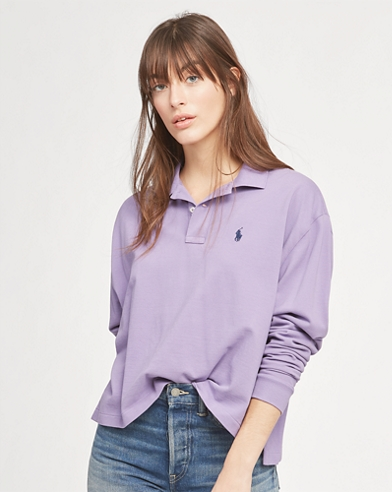 Cropped Mesh Polo Shirt