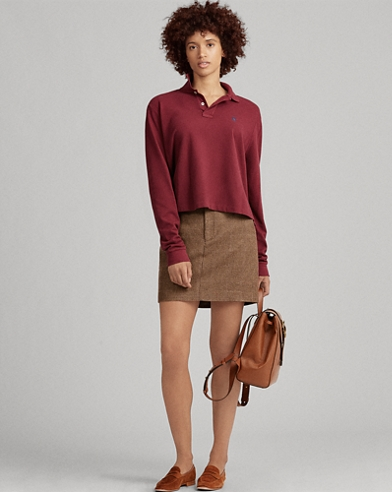 Cropped Mesh Polo Shirt