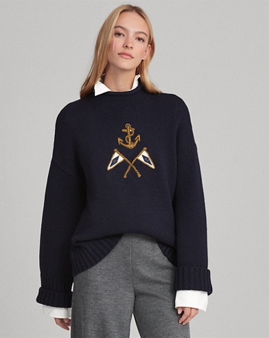 Crest Embroidered Wool Sweater