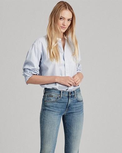 Band-Collar Button-Down Shirt