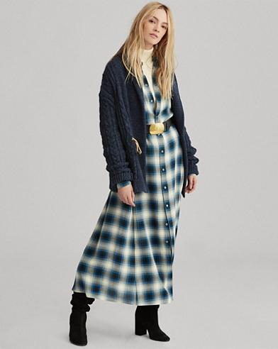 Maxi robe en sergé écossais