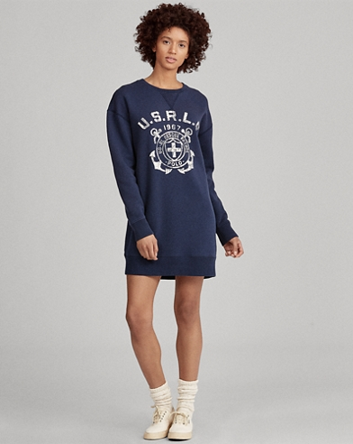 Print Fleece Sweater Dress