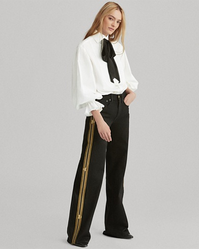 Admiral Striped Wide-Leg Jean
