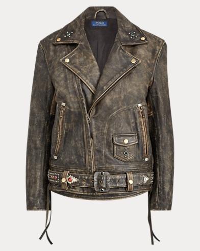 Stud Burnished Leather Jacket