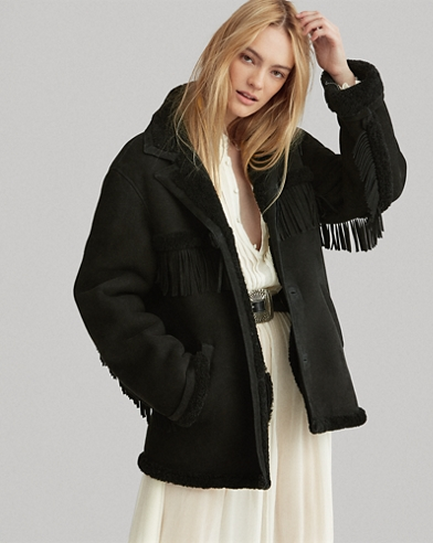 Fringe-Trim Shearling Jacket