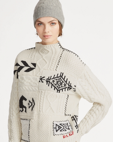 Patchwork Mockneck Sweater