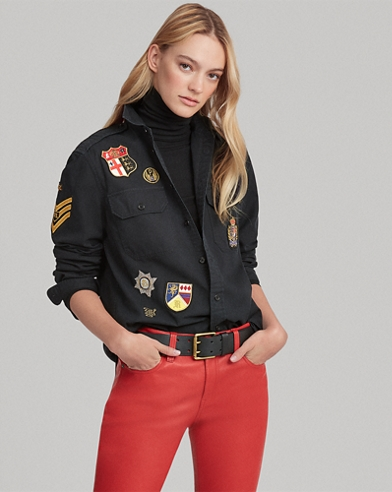 Patchwork Twill Military Shirt