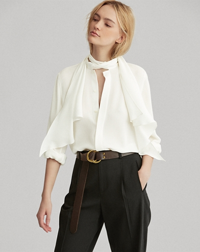 Necktie Silk Button-Down Shirt